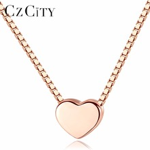 CZCITY 925 Sterling Silver Jewelry Fine Fashion Cute Love Heart Shaped Necklace Pendants Top Quality Rose Gold Color Necklaces
