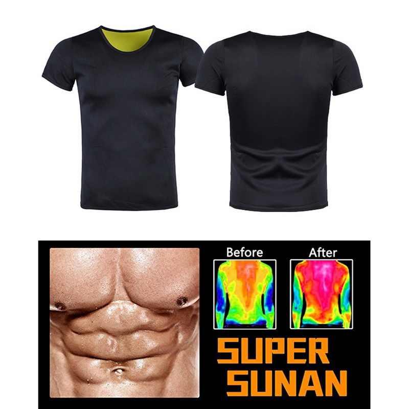Camiseta de modeladora térmica para homens, camiseta fitness de emagrecimento, mangas curtas, abdômen de neoprene, queima de gordura, cinta para abdômen masculina