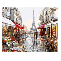 Diy Painting By Numbers Home Decor Pictures Framed Oil Painting Eiffel Tower And Peoples Art Posters