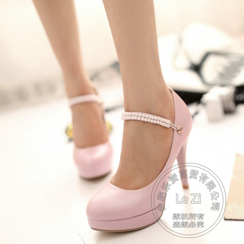 ФОТО Temperament Princess Rhinestone Teenage Girls Bridesmaid Beige Woman Dress Single Shoes High Ankle Strap Heels Platform Pumps