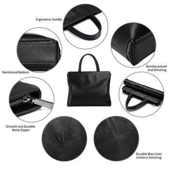 Genuine Leather Men\'s Handbag Slim Laptop Briefcase Computer Bag 15.6 inch and 14 inch Business Briefcases for Man Black FEGER