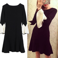 New Winter Of Black And White Color Matching Ruffled Cuff Wool Knitting Dress