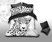 הדפסת נמר נמר 3D לבן ושחור בגודל קינג מלכת סט מצעי כיסוי המיטה סדין פשתן כיסוי שמיכת סדין למיטה