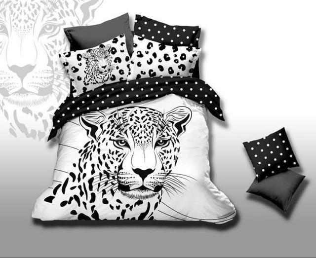 3D Tigre estampado de leopardo blanco y negro juego de cama queen
