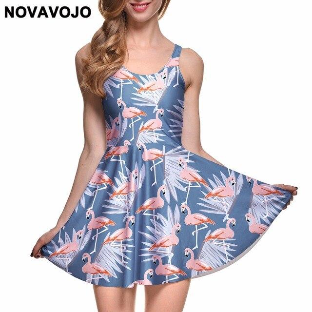 NOVAVOJO Spring Women Dress Flamingo 3D Full Printing Summer Dress Sexy  Sleeveless Floral Dress Plus Size O-Neck Beach Dress 1e0796e3cf8c