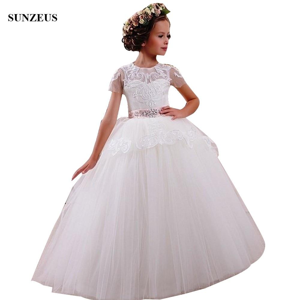 Ball Gown Short Sleeve   Flower     Girls     Dresses   2018 Beautiful Appliques Wedding Party   Dress   For Little   Girls   communie jurk FLG107