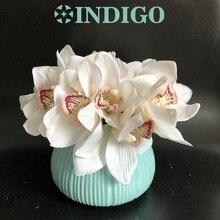 5pcs Μίνι Λευκό Κύκλωμα Ορχιδέες Μπιμπερό Ρεάλ Touch Γάμος Λουλούδι Τεχνητό Λουλούδι Ανθοπωλείο Κόμμα Δωρεάν αποστολή