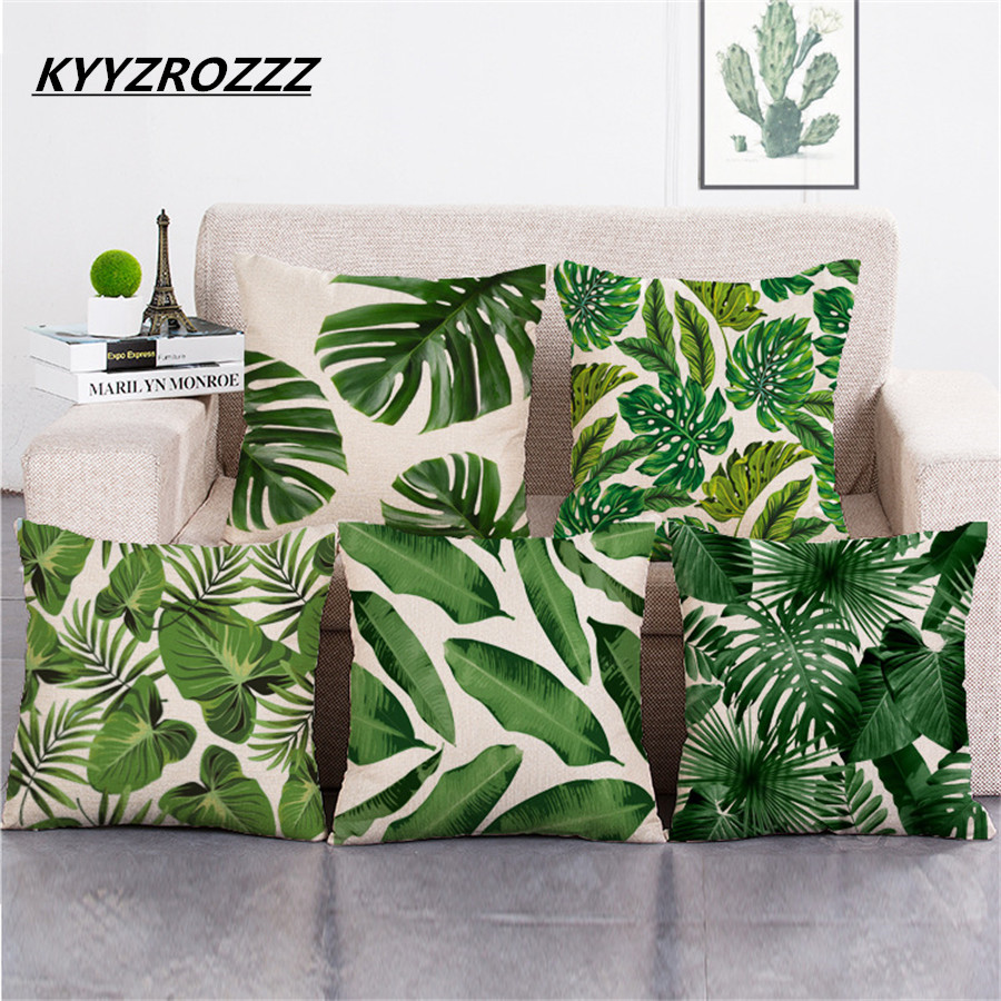 Africa Tropical Plant Printed Cushion Cover Green Leaves Linen Pillow Cases Chair/Car/Sofa Pillow Cover Home Decorative Pillow ...