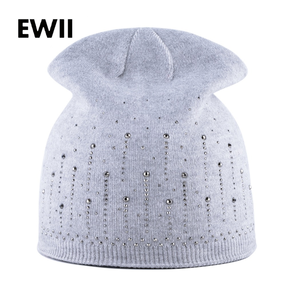 2017 Fashion beanies caps women winter hat girls warm rabbit wool hats for women skullies bonnet femme ladies rhinestone cap wuhaobo the new arrival of the cashmere knitting wool ladies hat winter warm fashion cap silver flower diamond women caps