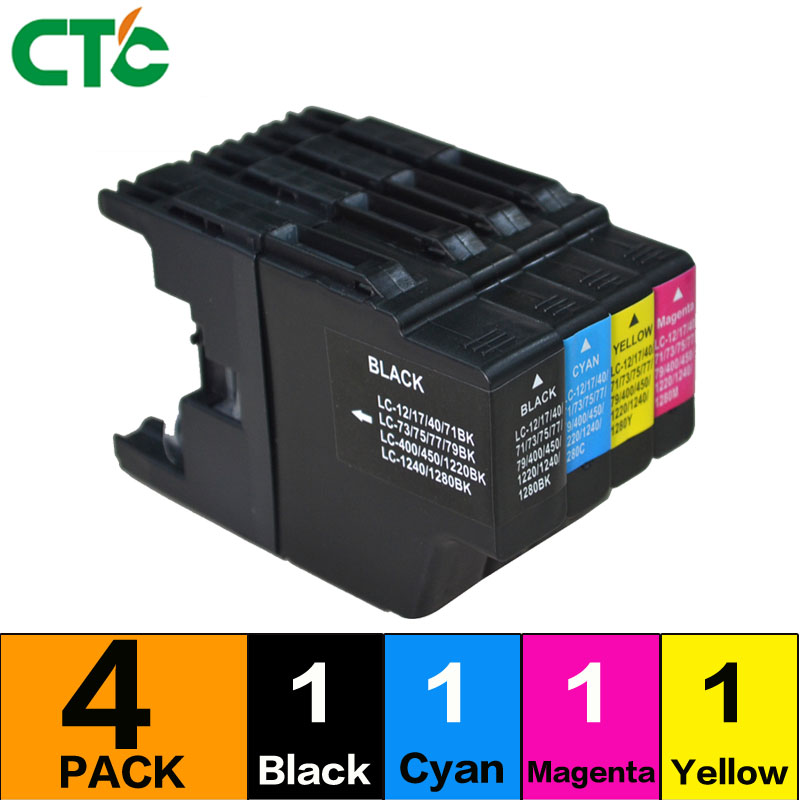 4pcs Compatible Ink Cartridge For <font><b>LC1280</b></font> for Brother Printer J525N J525W J725DW J925N J925DW MFC-J835DW J955DN J955DWN image