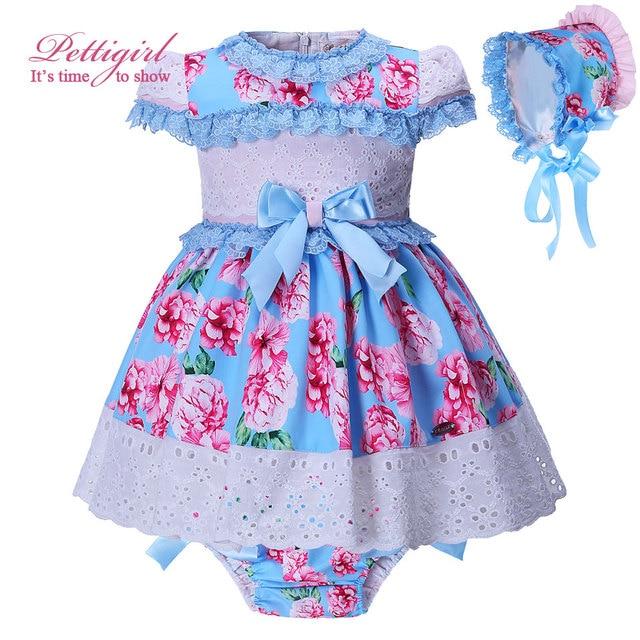 05db0835abd Pettigirl Groothandel Nieuwe Zomer Baby Blauwe Meisje Kleding Set Bowtie  Afdrukken Bloem Meisje Jurk PP Broek