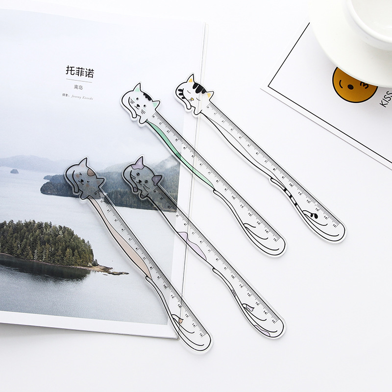 1X Cute Kawaii Cat Straight Ruler Study Drawing Tool Student Stationery School Office Supply Promotion Gift