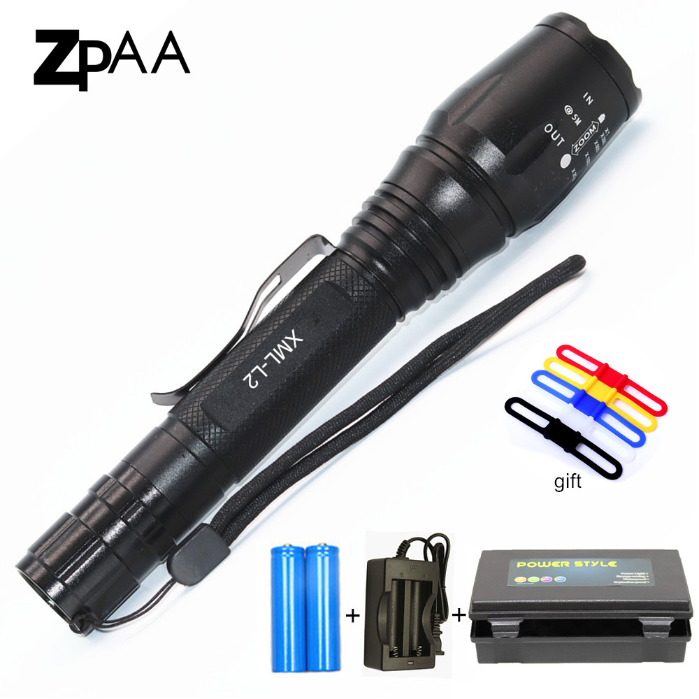 LED Tactical Flashlight Torch 7000LM XM-L2 T6 Zoomable LED Flash Light For 2x18650 batteries Aluminum Bicycle Flashlights обувь для зала kelme обувь для зала kelme subito 5 0 55803 026