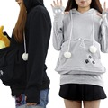 Womens Kawaii Hoodies Harajuku costume Hooded Pullovers Cute Meow Star Kangaroo Big Pocket Sweatshirt Female cosplay Hoodies