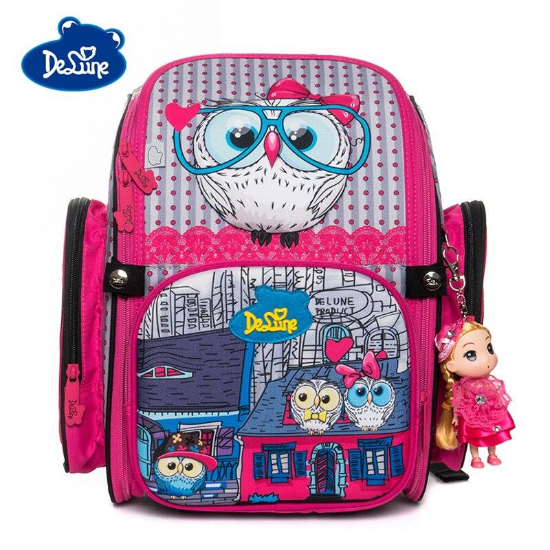 Delune 새로운 3d 올빼미 패턴 학교 가방 소녀 소년 만화 배낭 어린이 정형 배낭 학생 가방 mochila infantil-에서학교가방부터 수화물 & 가방 의  그룹 1