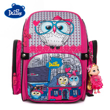 Delune New 3D Owl Pattern School Bags For Girls Boys Cartoon Backpacks Children Orthopedic Backpack Student Bag Mochila Infantil