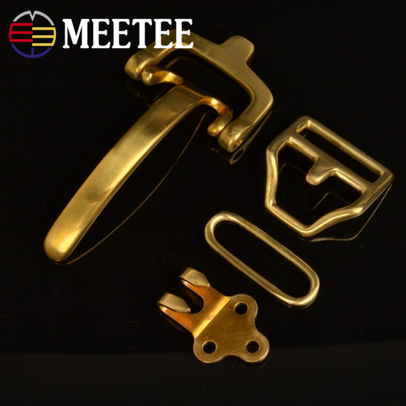 1Set=4pcs Meetee Solid Brass Belt Buckle Cavalry Bag Buckle DIY Handmade Leather Craft for 38mm Belt with Rivet and Screws