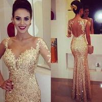 Long Lace Custom Made 2018 Sheer Jewel Sexy Champagne Lace One Long Sleeve Formal Gowns Backless Mermaid bridesmaid dresses