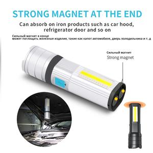 Image 3 - High End LED Flashlight COB Camping light Mobile power Double side light Rechargeable Super bright Torch Tail with magnet