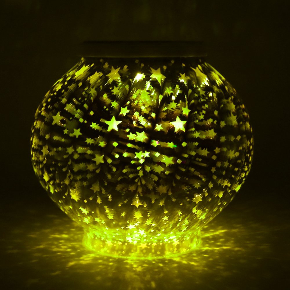 Cristal Mosaico lâmpada estrelas Luz Solar À