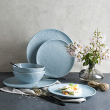 The Creative Personality of Western Blue Linen Ceramic Tableware Steak Salad Bowl Disc Tray Western-style Food DishDessert Plate