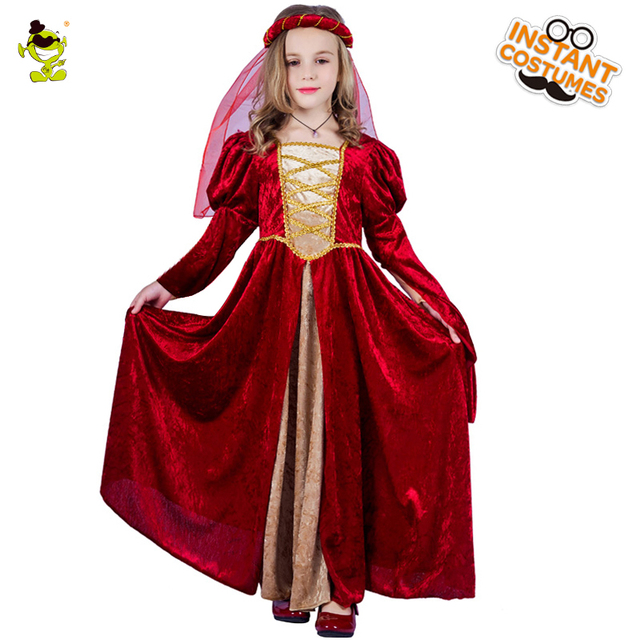 d12c110d2a1d Della ragazza Costume Rinascimentale medievale della regina Principessa  Fantasia Rosso Delle Ragazze del Vestito capretto