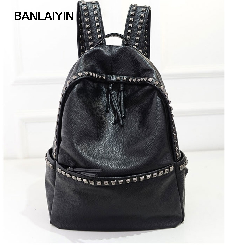 Korean Style Large Size School Bags For Teenage Girls Lady PU Leather Casual Rivet Backpacks Womens