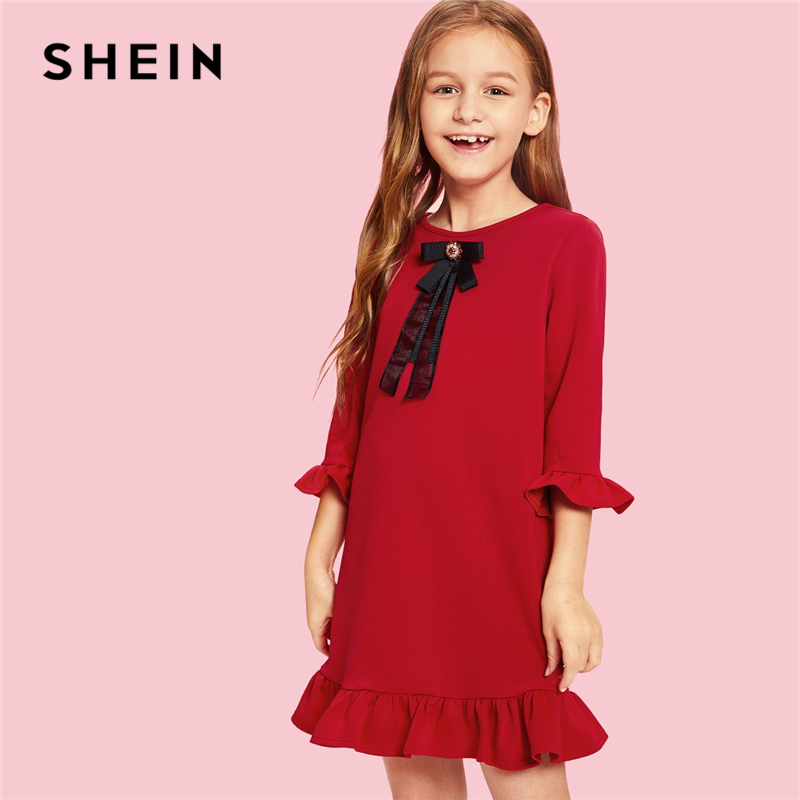SHEIN Girls Red Ruffle Trim Bow Front With Beading Elegant Dress Kids Clothes 2019 Spring Korean Flounce Sleeve Cute Girls Dress girls 2017 summer and autumn with flowers and bow belt tulle dress children roses peter pan collar long sleeved princess dress