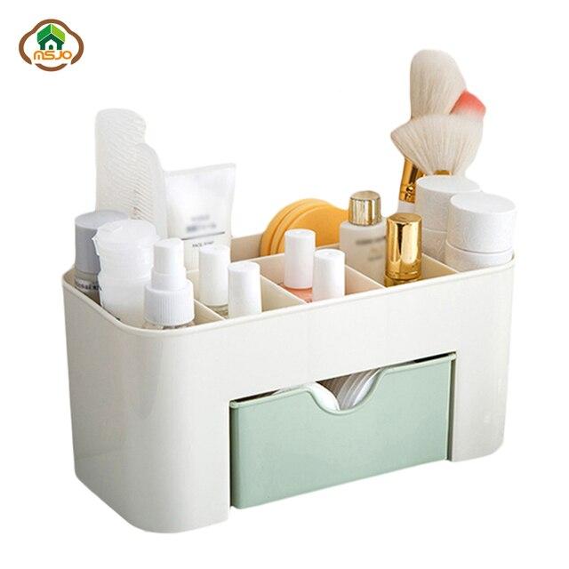 Msjo Makyaj Kutusu Organizatör Takı Kolye Oje Küpe şeffaf plastik saklama kabı Ev masa üstü organiser Için Kozmetik