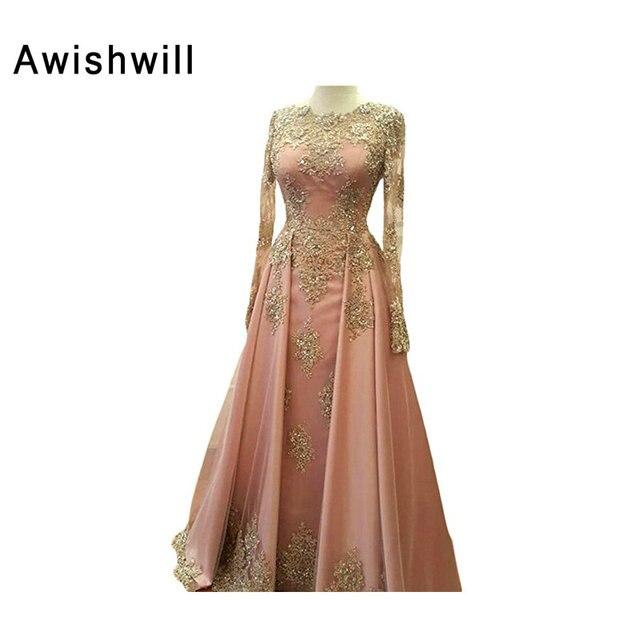 Beaded Gold Lace Appliques Long Sleeve Muslim Evening Dress Long Floor  Length Saudi Arabia Formal Party Gown Women Formal Dress e1cd2832595b