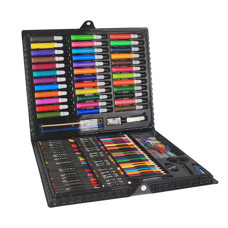 150 Children's Painting Art Supplies Set Stationery Gift Box Paint Brush Color Pencil Drawing Tools Office Stationary 150 children s painting art supplies set stationery gift box paint brush color pencil drawing tools office stationary