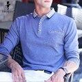 Troilus 2017 Весна Осень Мужчины С Длинным Рукавом Polo Рубашка Топы твердые Тис Модные Мужские Бизнес Случайный Polo Shirt Camisa POLO рубашки