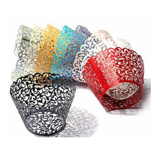 12pcs Pink Vine Lace Cupcake Box White Cut Paper Wedding Liner Baking Cup Wrappers Cake Cups 9 Colors