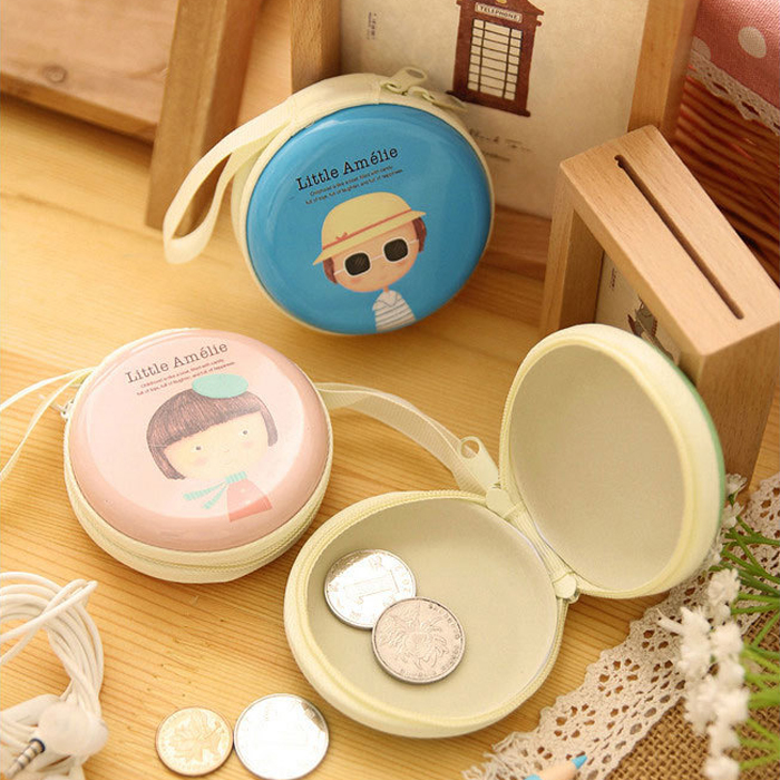 New Cute Girl Print Portable Mini Round Coin Purse Wallet Key Earphone Holder Case Bag Cartoon Zipper Pocket For Kids Girl Women m215 cute cartoon pets akita dog siberian husky personality plush coin purse wallet girl women student gift wholesale