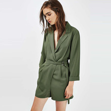 VFan Army Green Wide Leg Belted Striped Tee Romper Women Three Quarter Sleeve V Neck Playsuit Office Lady Workwear Autumn Romper army green v neck cut out self tie playsuit