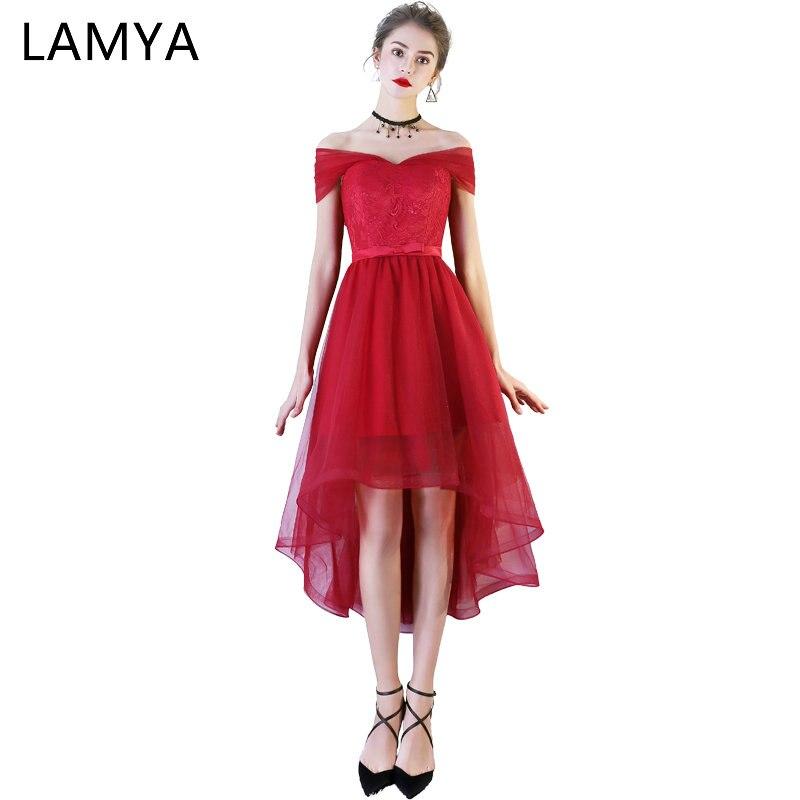 LAMYA/бордовые вечерние платья с коротким передним и длинным задником, простой фатиновый, с длинной и короткой частью, Элегантное длинное вече...