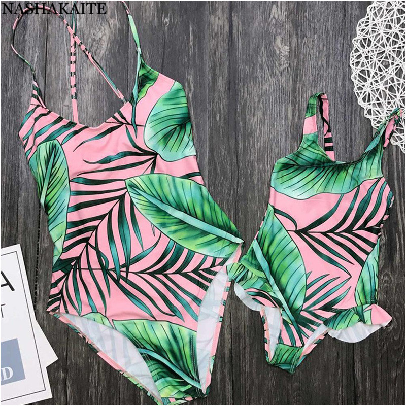 NASHAKAITE Mother daughter matching swimsuits Tropical Leaf Print Backless Bandage One Piece Bodysuits Swimsuit Mother Daughter