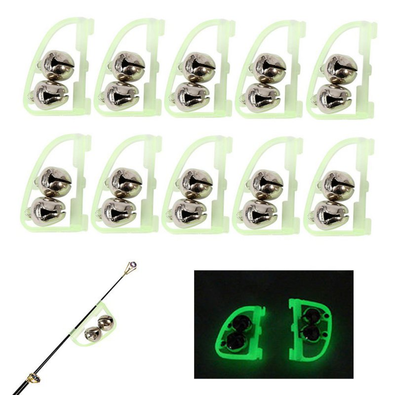 10 Pcs Luminous Sea Fishing Feeder Fishing Bell 50mm Twin Rod Tip Fish Bell Alarm Fishing Tackle