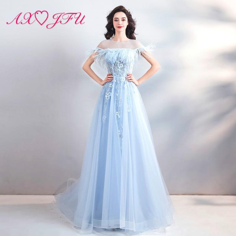 a5a34277d4 AXJFU księżniczka niebieski koronka kwiat suknia luksusowe rocznika o neck  frezowanie pióro niebieska suknia wieczorowa 10116