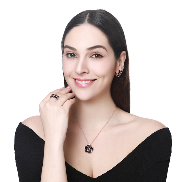 Jewelry Set Rose Gold Color Black Painting 6