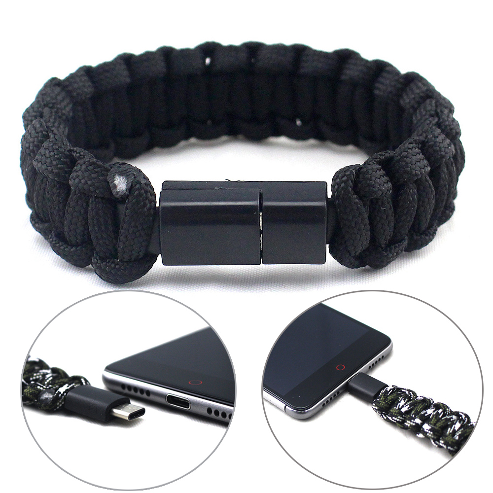 Braided Paracord Bracelet With USB Type C Cable Multi-function Survival Rope Bracelet Outdoor Camping Rescue Emergency Bracelets