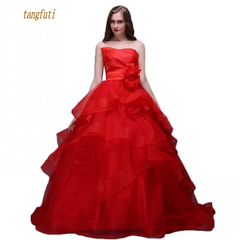 Wedding Dresses Ball Gown Corset: Red Ball Gown Wedding Dresses Strapless Handmade Flowers