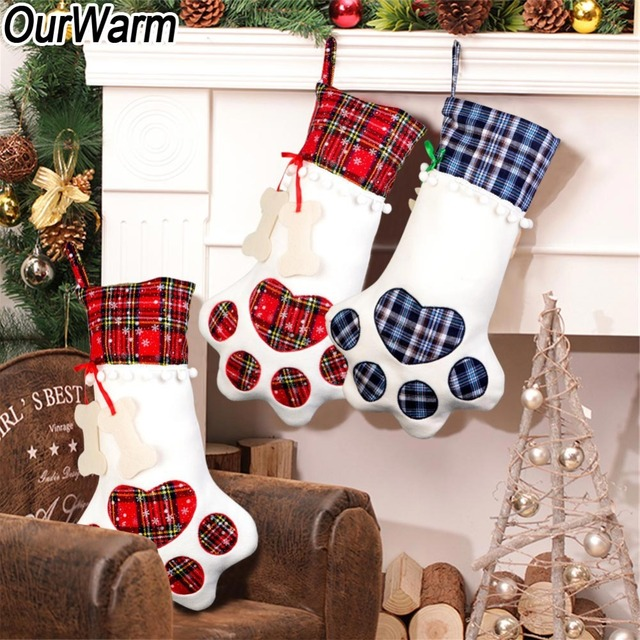 OurWarm Plaid Christmas Stocking New Year Gift Bag for Pet Dog Cat Christmas Goods Xmas Tree Hanging Ornaments navidad 2018