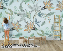 beibehang Custom silky classic wallpaper Nordic 3d small fresh tropical plants flowers birds background wall papers home decor