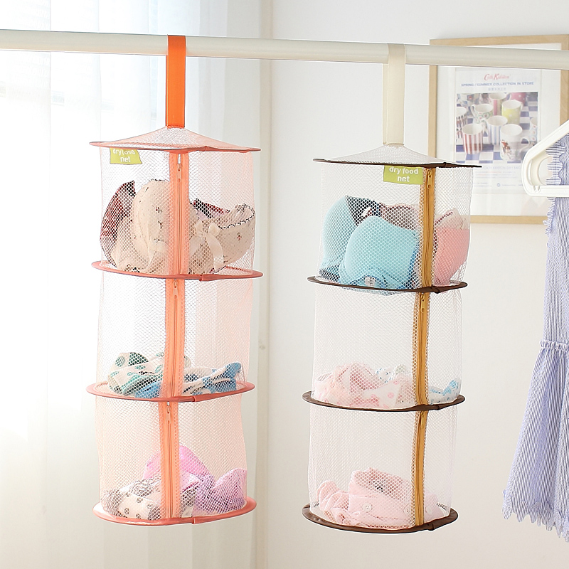 Colorful Underwear Bra Laundry Sweater Hanging Basket Windproof Folding Multi-Layer Drying Rack Mesh Clothes Dryer Net 61819