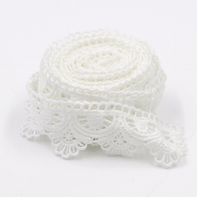 3 Yards White Lace Trim Cotton Embroidered Lace Fabric Sewing Lace Ribbon  Skirt Apparel Trims Scalloped