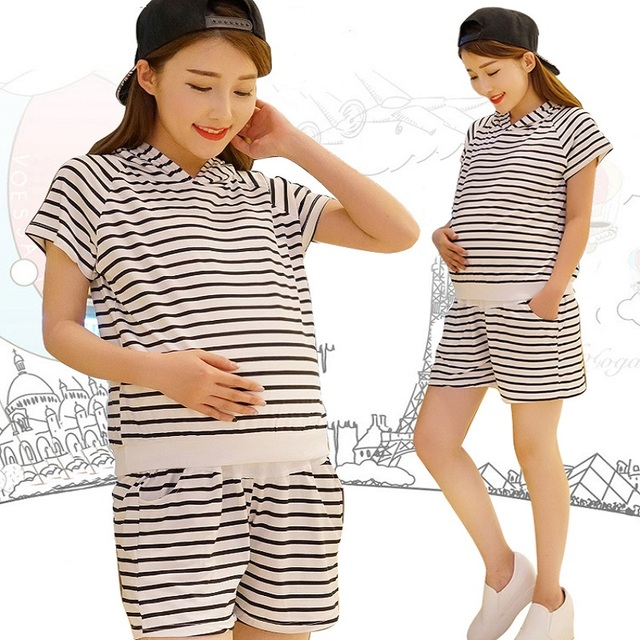 2016 new summer maternity clothing set cotton knitted stripe T shirt and short trousers maternity T shirts pregnancy pants 16775