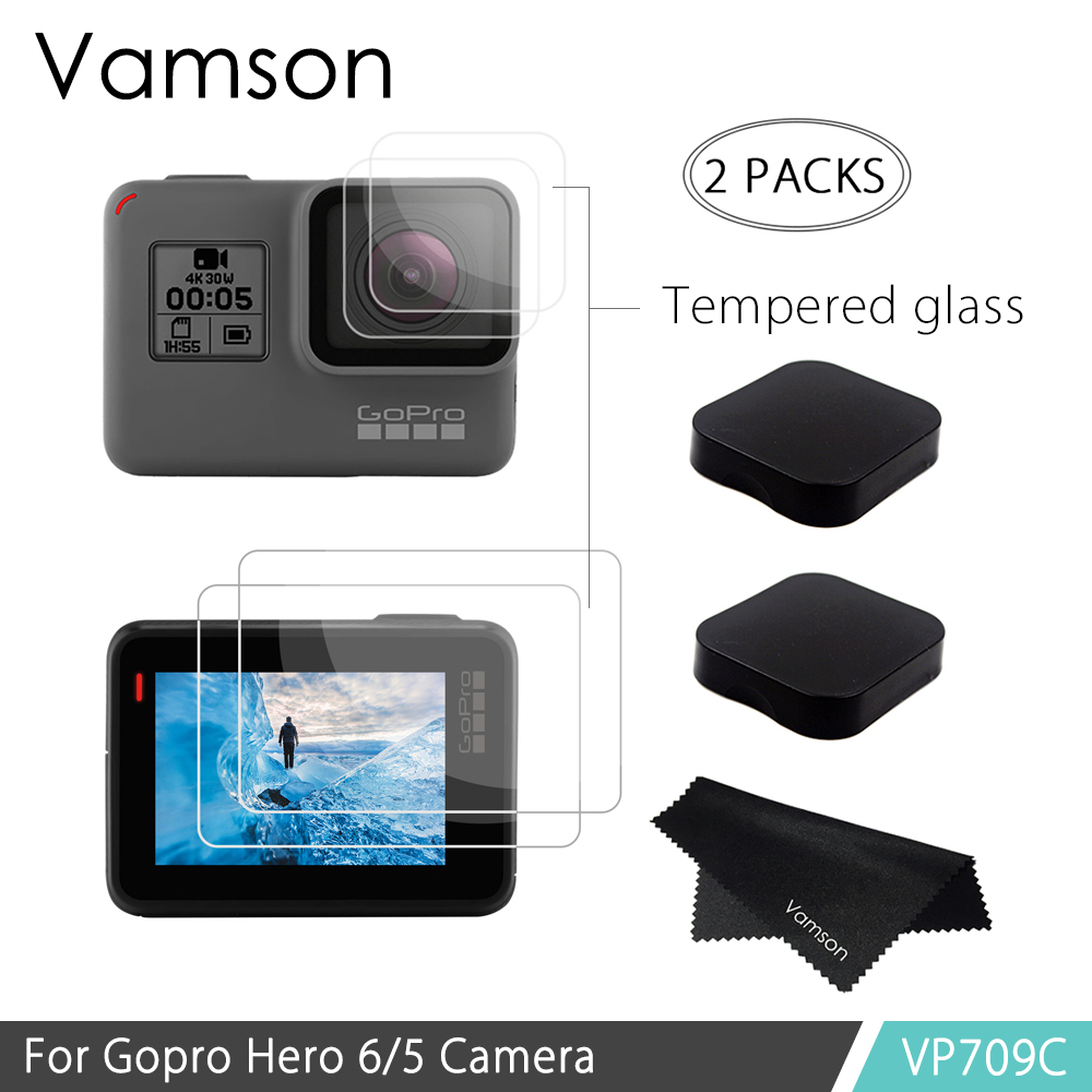 Vamson Tempered Glass For GoPro Hero6 Hero5 Action Video Camera Lens LCD Display Screen Protector Accessories +Lens Cover VP709C
