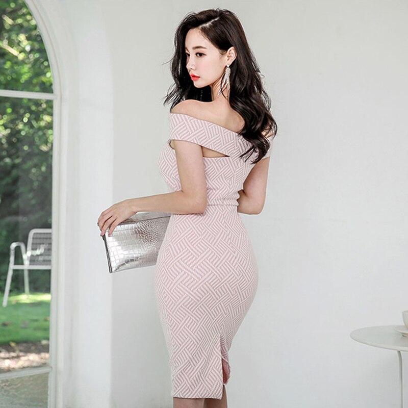 Foamlina Stripe Print Bodycon Dress Women Summer Fashion Pencil Dress Off Shoulder Slim Fit Knee Length Work Party Vintage Dress