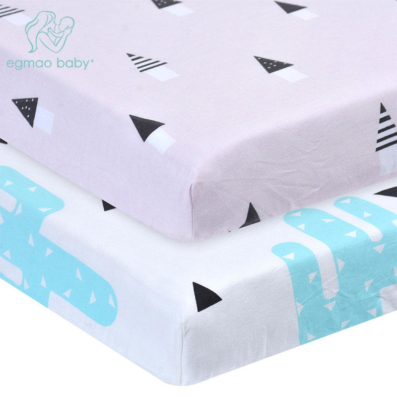 New style Baby Crib Bedding Set Fitted Soft Woven Cotton Sheet with Unisex Design for Babies Crib Sheets Great gift for Baby striped fitted sheet